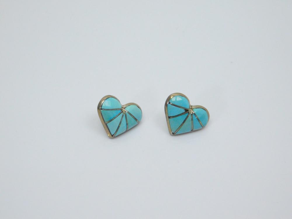 Lot 33: Vintage Native American Zuni K.E.K. Sterling Turquoise Inlay Heart Earrings 3G