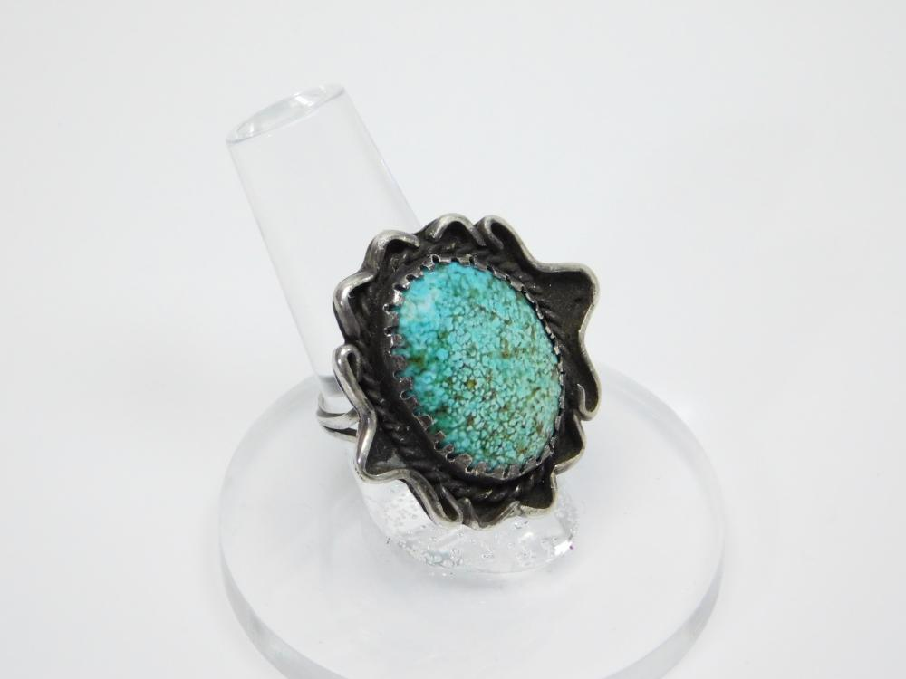 Vintage Native American Navajo Sterling Green Spiderweb Turquoise Old Pawn Ring 10.4G Sz7