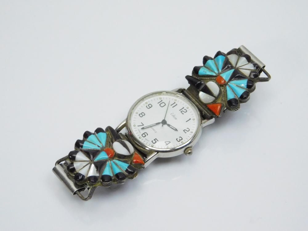 Lot 36: Vintage Native American Zuni Sterling Turquoise Coral Mop Inlaid Peyote Bird Watch Tips 46G