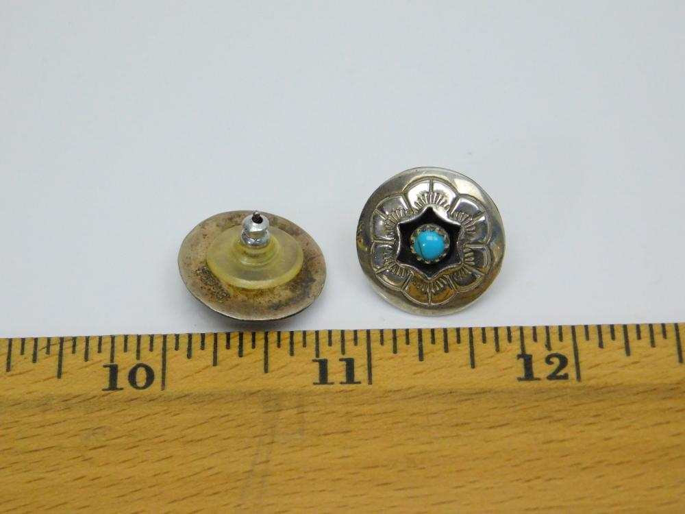 Lot 38: Vintage Native American Hopi Sterling Silver Turquoise Shadowbox Concho Earrings 4.5G