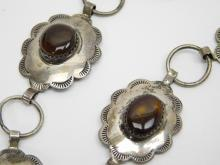 Lot 40: Rare Vintage Native American Navajo T Sterling Silver Fire Agate Concho Belt 83G
