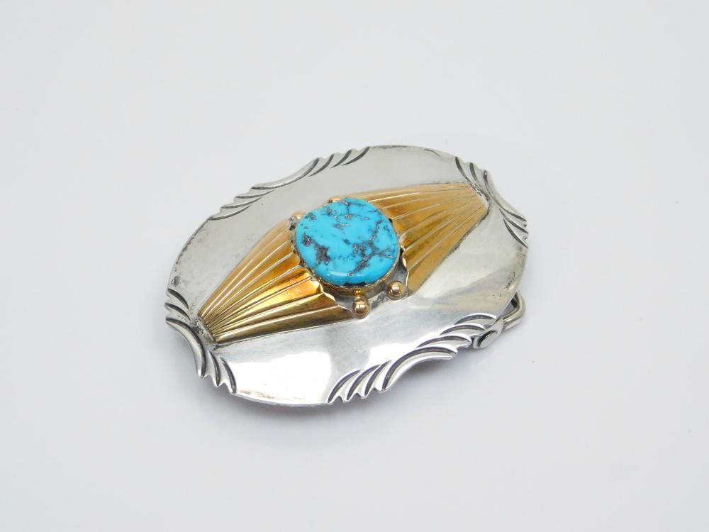 Lot 41: Vintage Native American Navajo M Spencer Sterling Goldfilled Turquoise Belt Buckle 47.5G