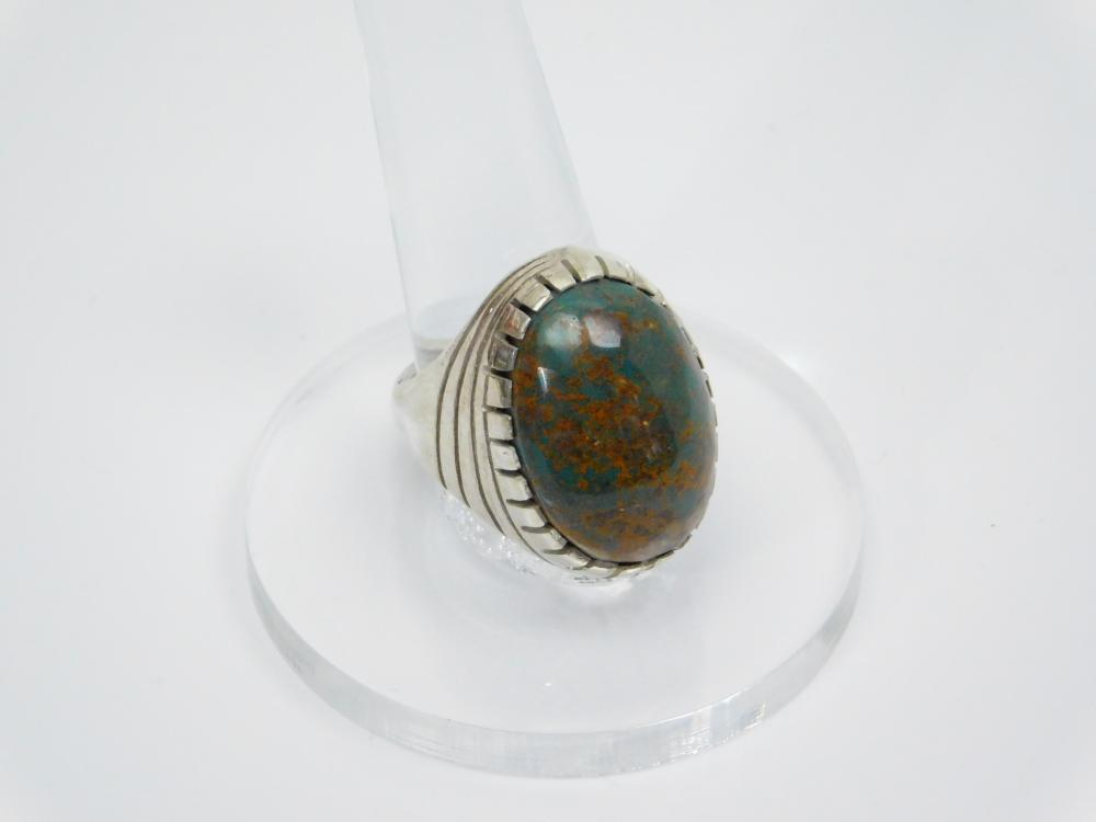 Vintage Native American Zuni Elliott Qualo & Sam Begay Turquoise With Rust Matrix Mens Ring 28G Sz10