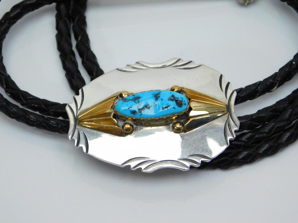 Lot 42: Vintage Native American Navajo M Spencer Sterling Goldfilled Turquoise Bolo Tie 42G