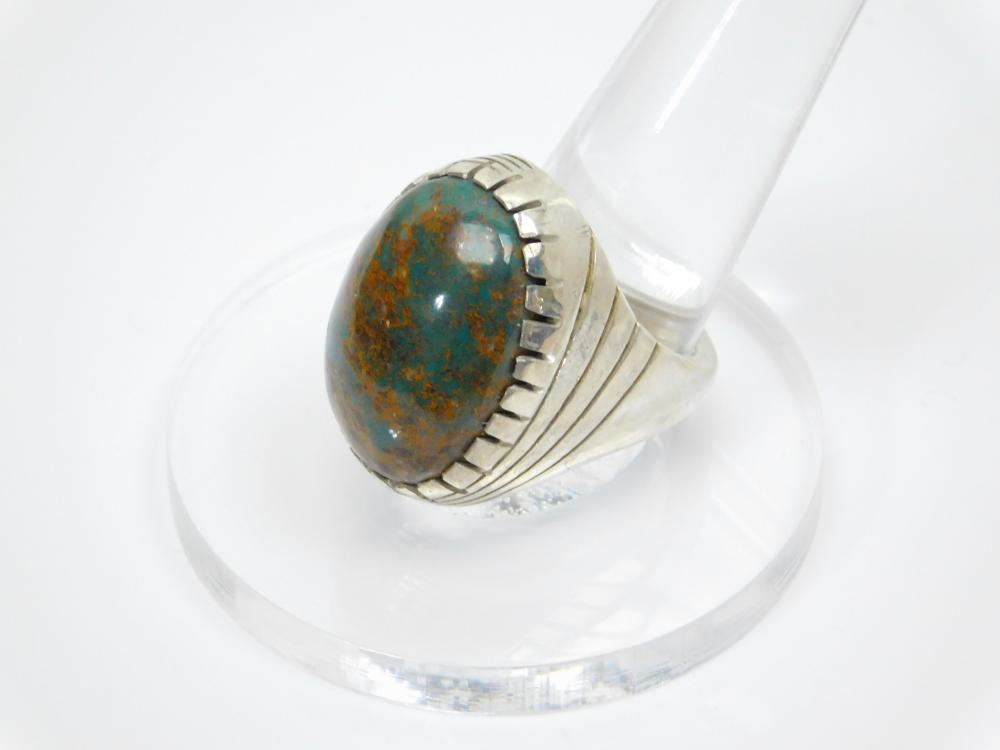 Lot 43: Vintage Native American Zuni Elliott Qualo & Sam Begay Turquoise With Rust Matrix Mens Ring 28G Sz10