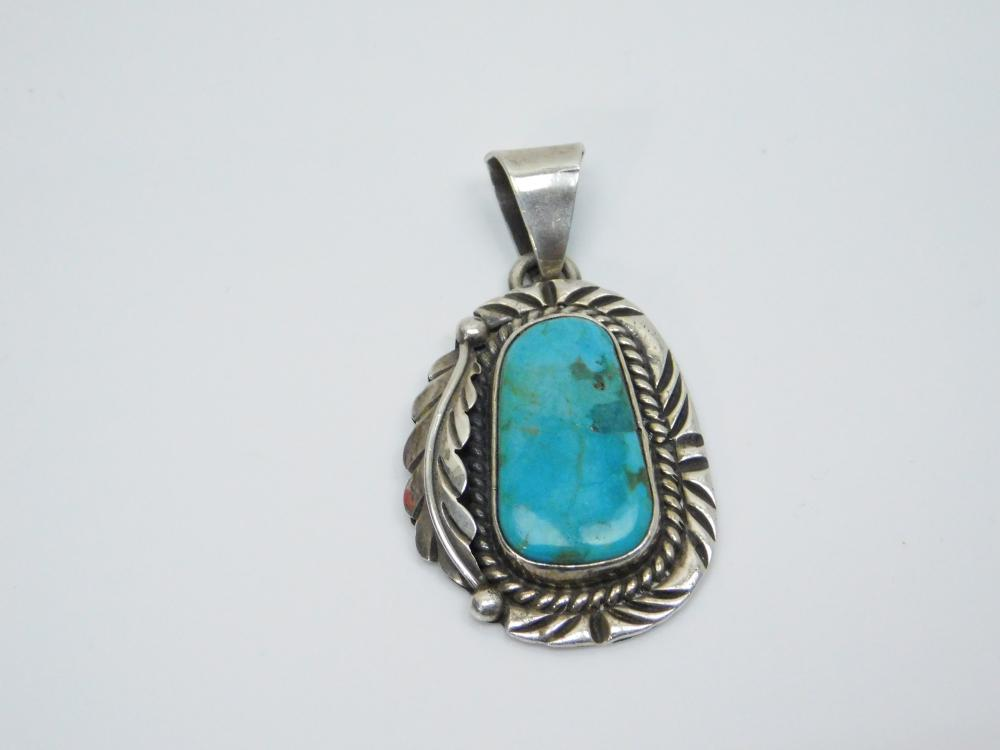 Vintage Mexico Large Sterling Silver Turquoise Feather Pendant 25.7G