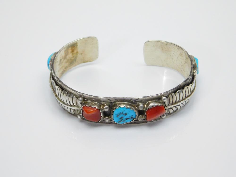 Lot 45: Vintage Native American Navajo Sterling Silver Turquoise Coral Feather Cuff Bracelet 34.5G