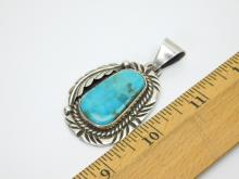 Lot 44: Vintage Mexico Large Sterling Silver Turquoise Feather Pendant 25.7G
