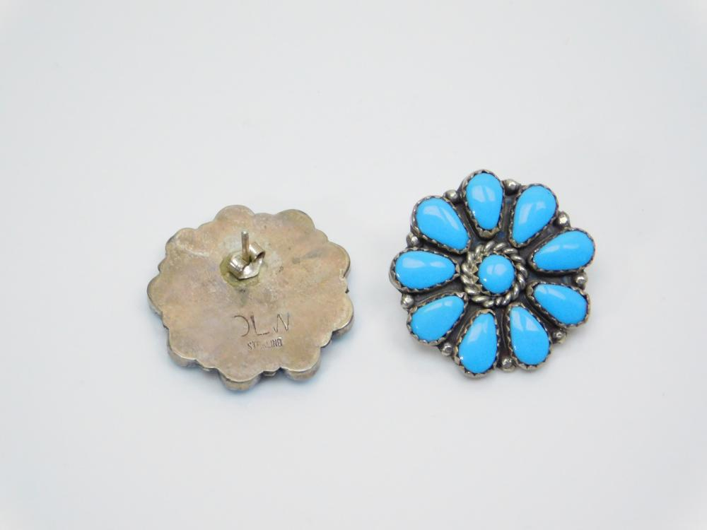 Lot 47: Vintage Native American Navajo Sterling Silver Turquoise Cluster Earrings 7.5G