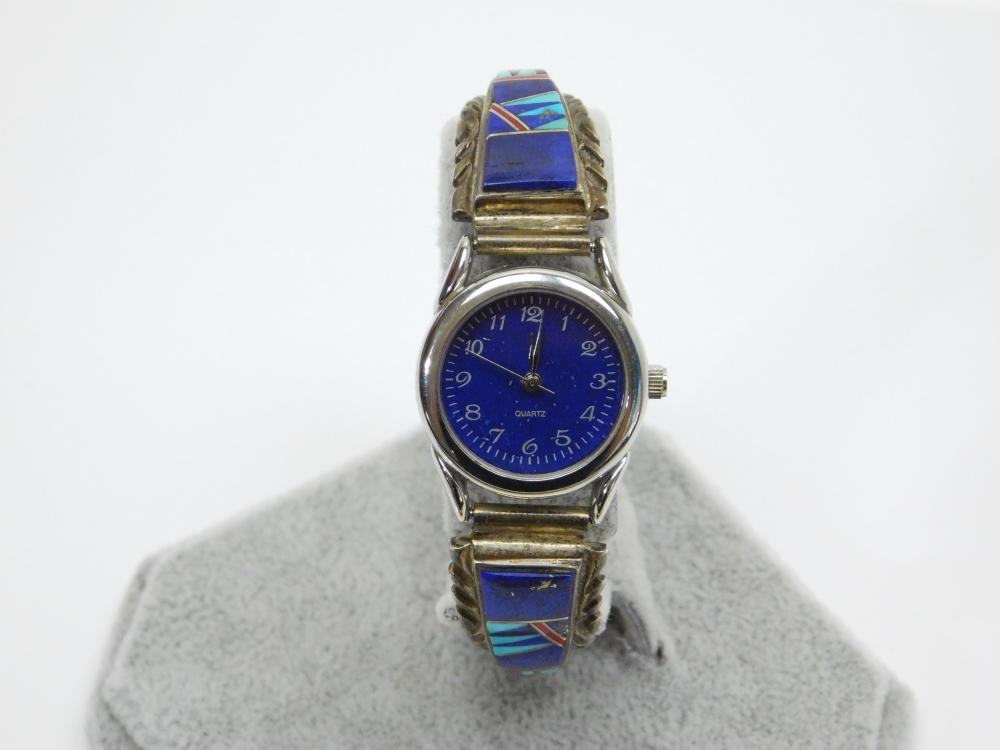 Lot 50: Vintage Native American Zuni Sterling Silver Inlaid Lapis Turquoise Coral Ladies Watch 32.7G
