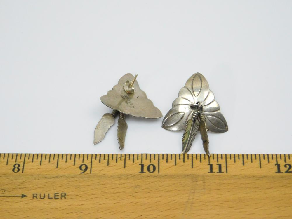 Lot 52: Vintage Native American Navajo W Begay Concho Style Triangle Feather Dangle Earrings 5.4G