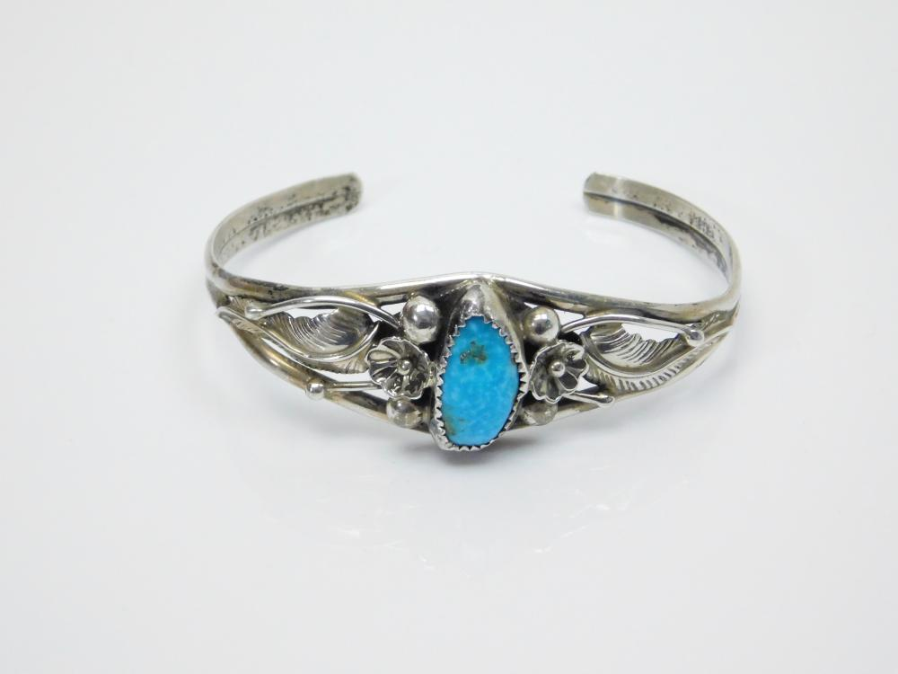 Lot 53: Vintage Native American Navajo Allen Chee Sterling Silver Turquoise Flower Feather Cuff Bracelet 14G