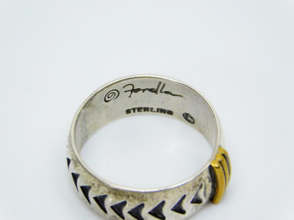 Lot 54: Vintage Forella Sterling Silver Stamped Arrows Ribbed Mens Cigar Band Ring 7.3G Sz10.25