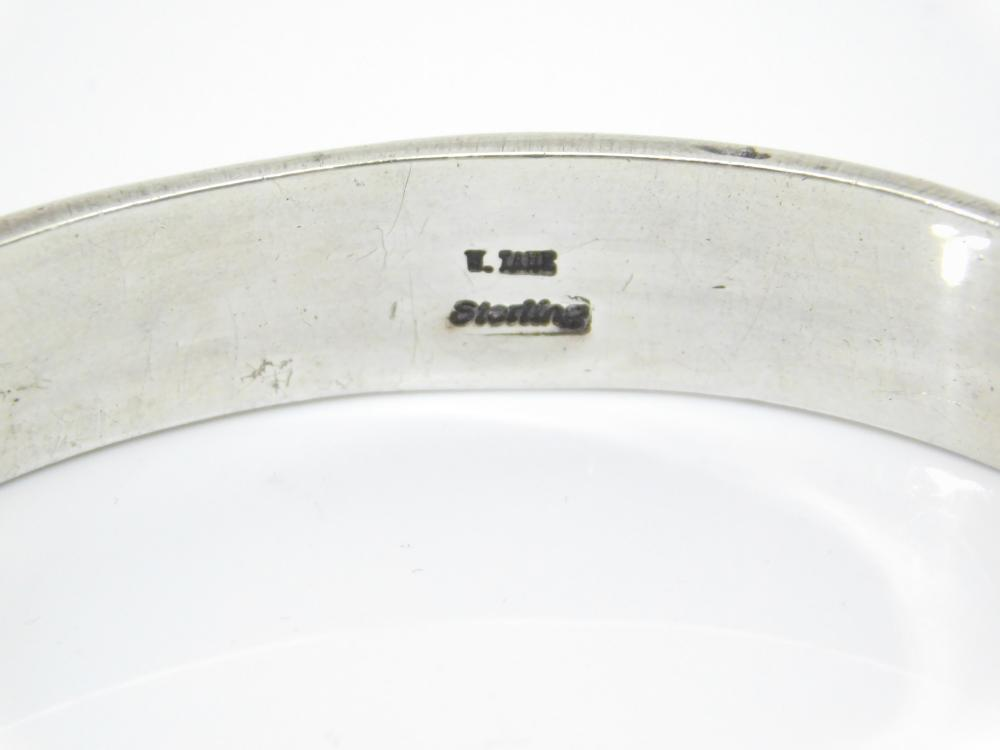 Lot 55: Vintage Native American Navajo W Tahe Heavy Stamped Sterling Silver Bangle Bracelet 47.5G