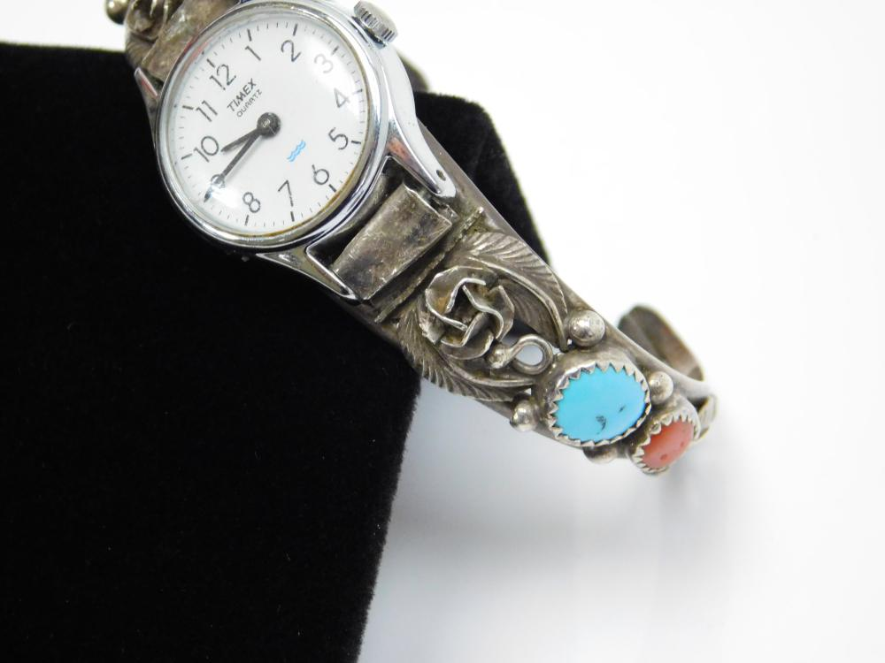 Lot 61: Vintage Native American Navajo Sterling Silver Turquoise Coral Ladies Cuff Bracelet Watch 22G