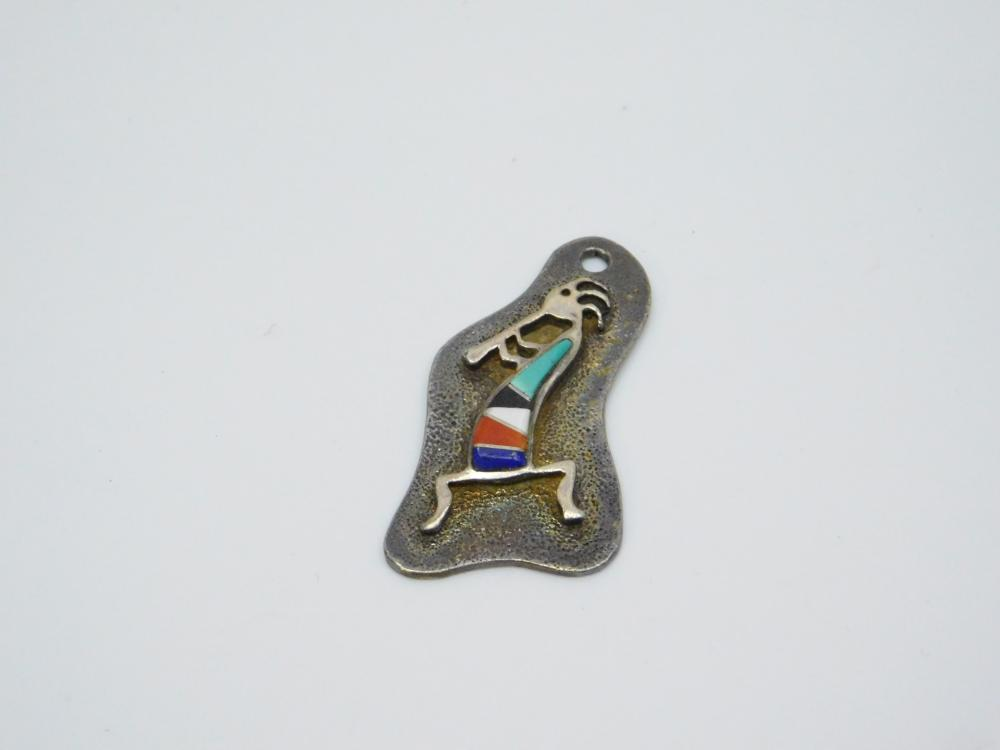 Vintage Native American Sterling Silver Inlaid Multistone Rock Kritters Pendant 8.8G