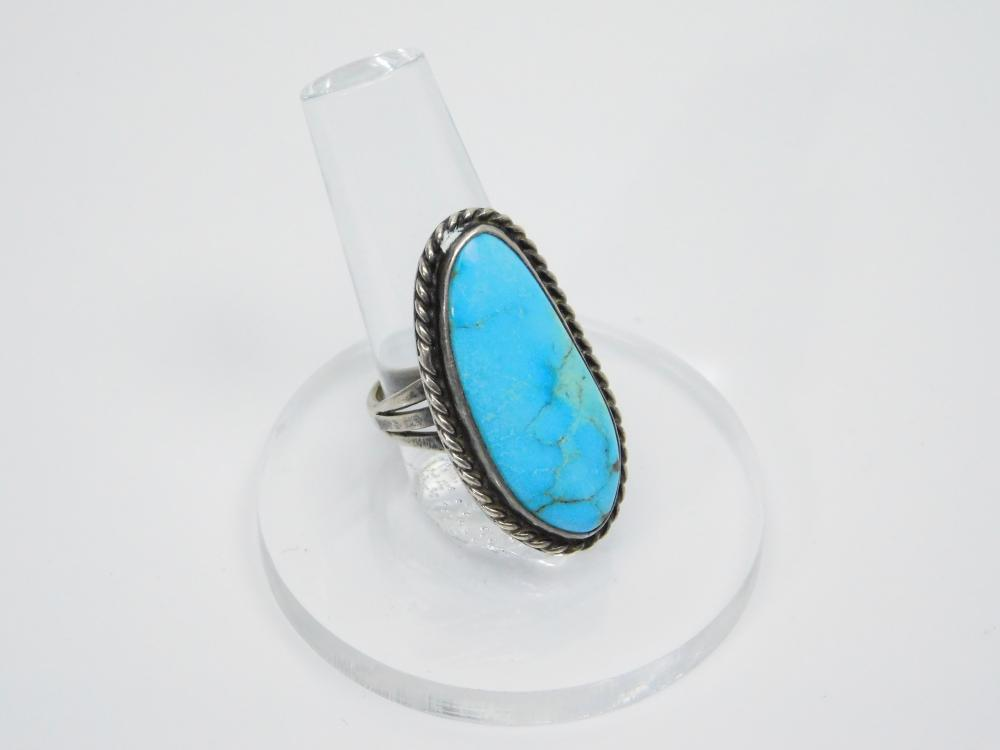 Vintage Native American Navajo Sterling Silver Turquoise Elongated Ring 10G Sz7.75