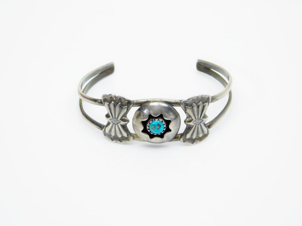 Lot 67: Vintage Native American Hopi Sterling Silver Turquoise Shadowbox Bowtie Childs Cuff Bracelet 6.8G