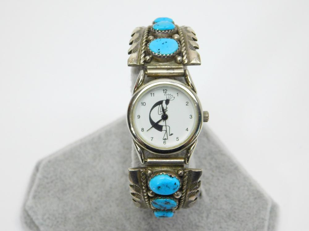 Vintage Native American  Navajo Sterling Silver Turquoise Kokopelli Watch 37G