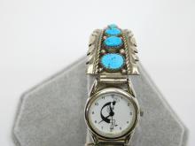 Lot 68: Vintage Native American Navajo Sterling Silver Turquoise Kokopelli Watch 37G