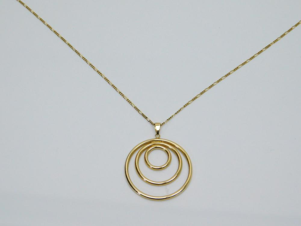 "14K Yellow Gold Triple Hoop Pendant On 30"" Figaro Link Chain 5.2G"