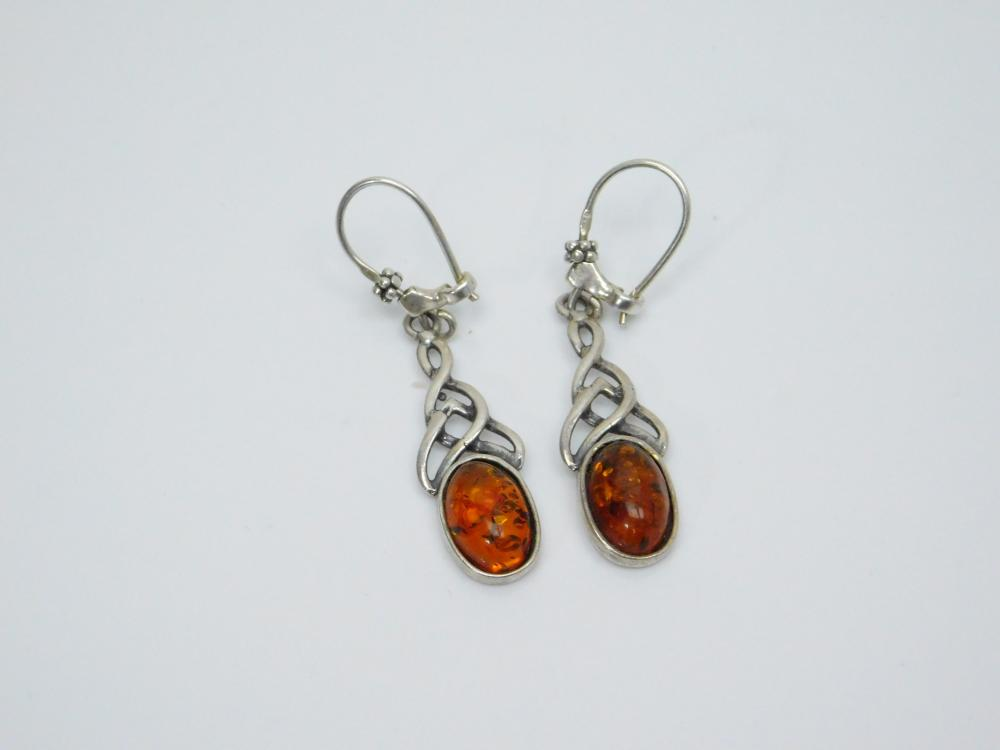 Sterling Silver Baltic Amber Fashion Dangle Earrings 4.4G