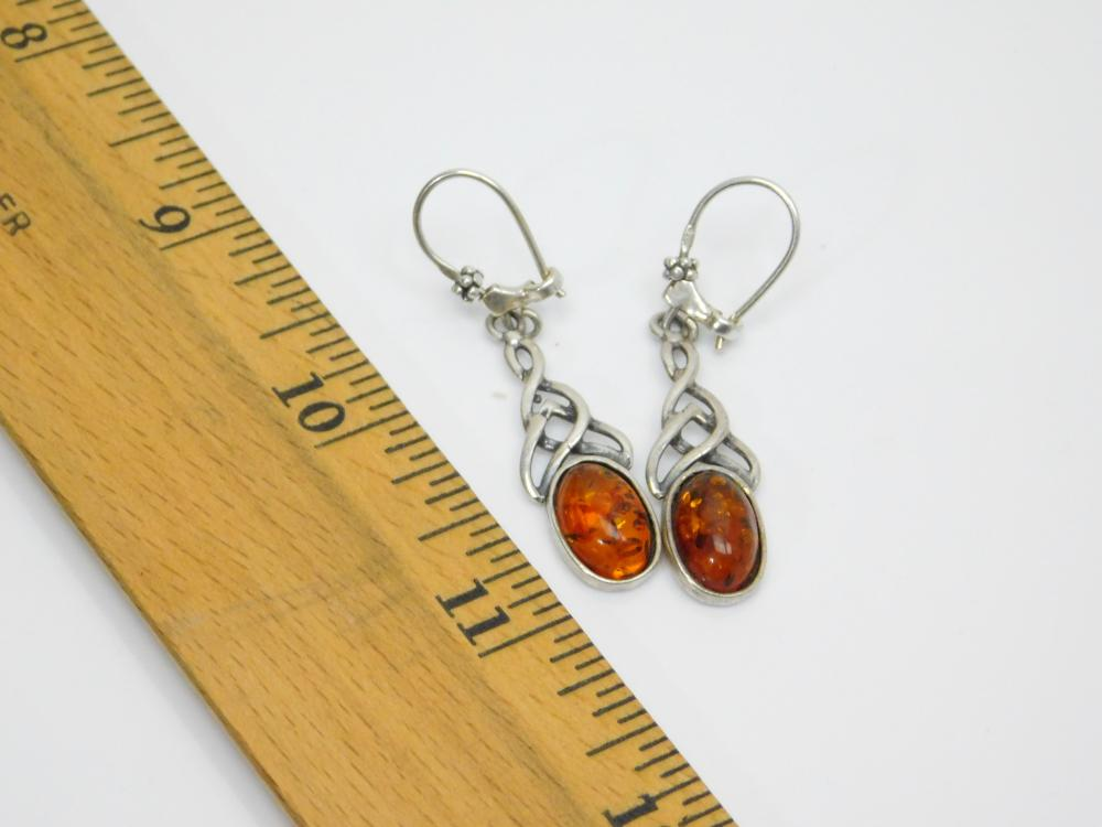Lot 71: Sterling Silver Baltic Amber Fashion Dangle Earrings 4.4G