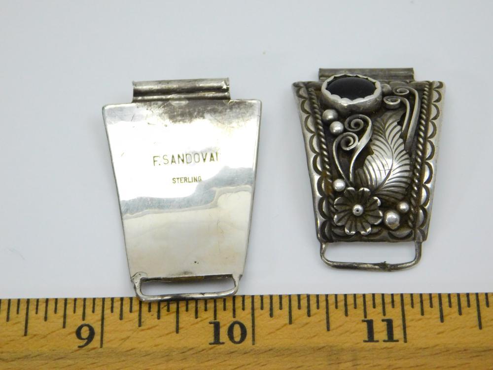 Lot 73: Vintage Native American Navajo E Sandoval Sterling Silver Black Onyx Squash Blossom Mens Watch Tips 21G