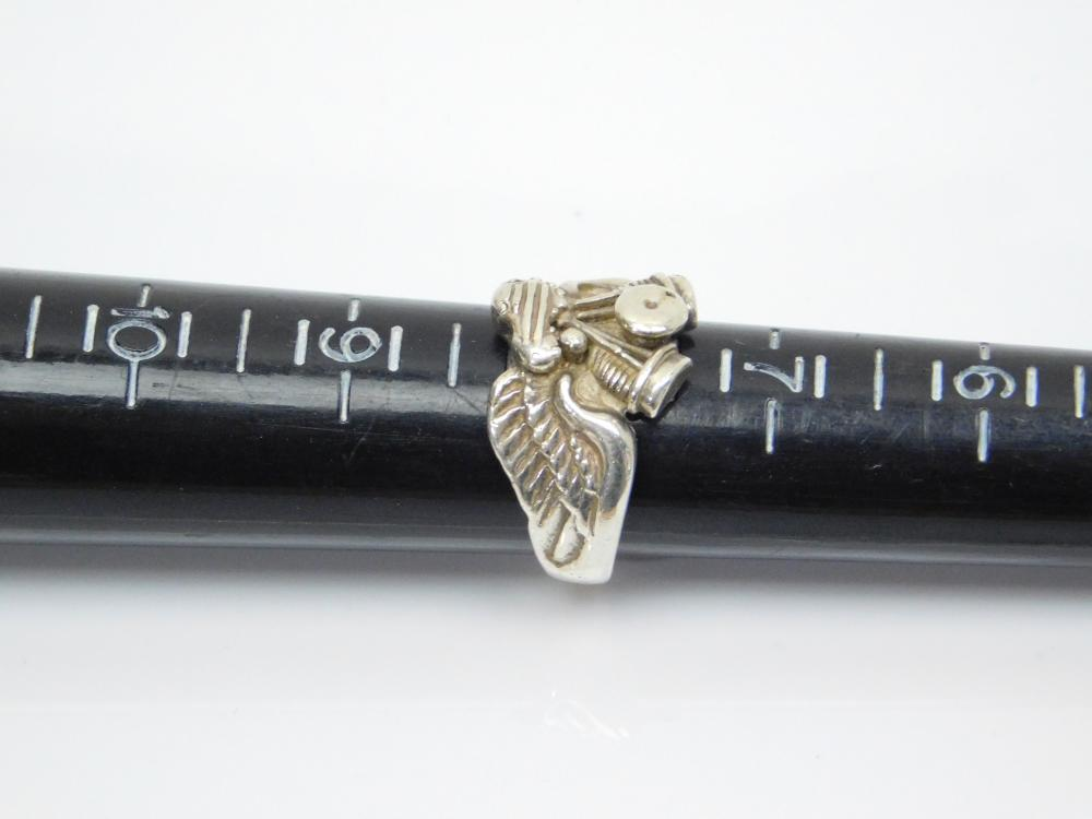 Lot 74: Vintage Sterling Silver Motorcycle Twin Engine With Wings Ring 9.6G Sz8