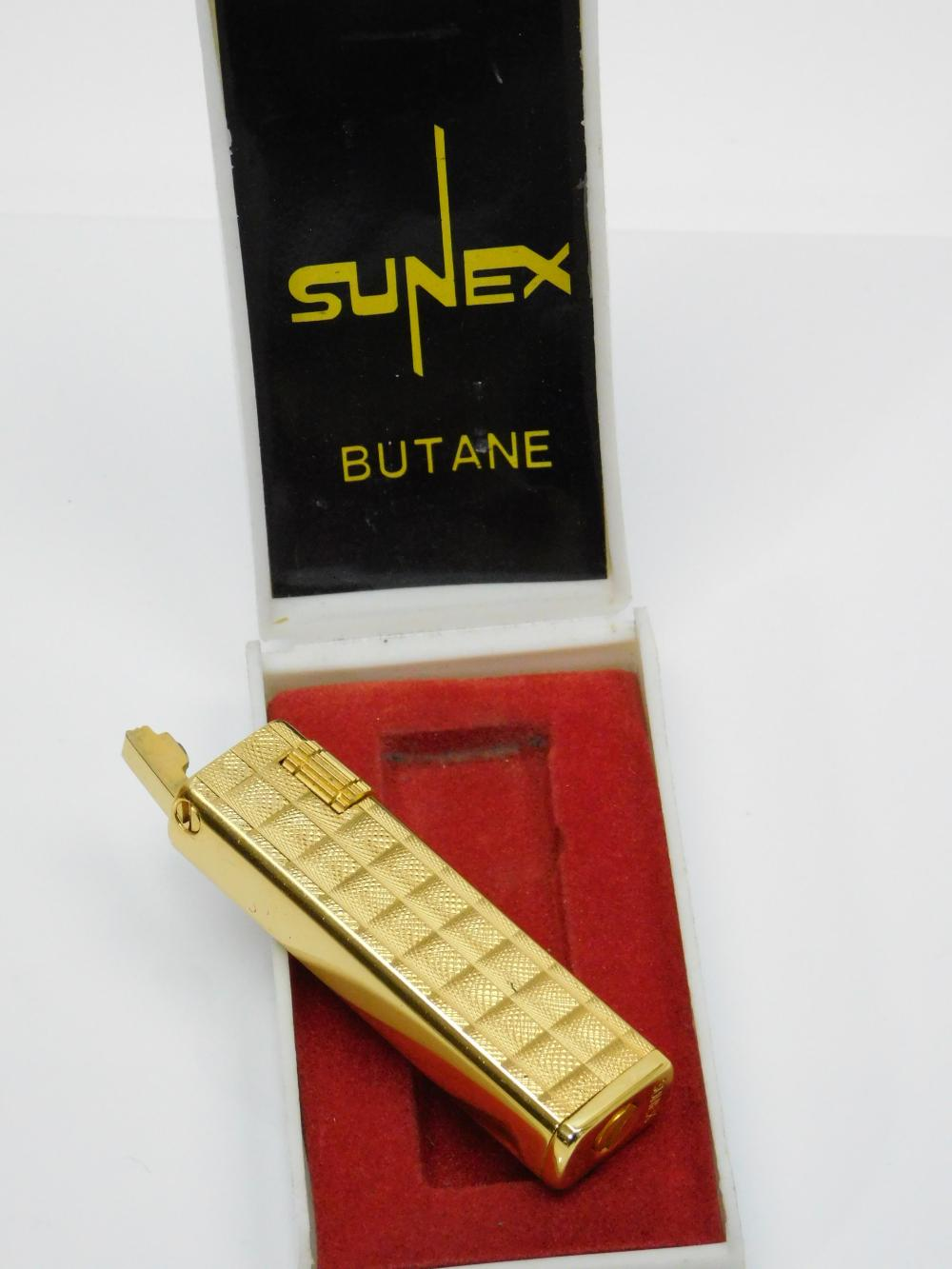 Vintage Sunex Goldtone Refillable Butane Lighter In Original Box