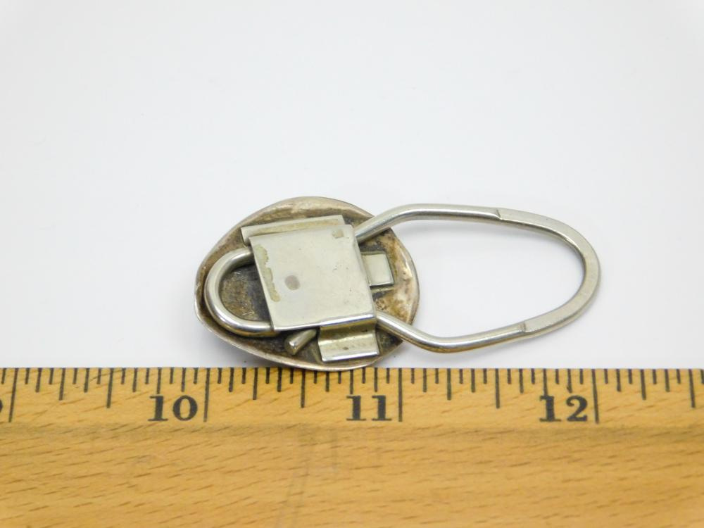 Lot 79: Vintage Native American Hopi Sterling Silver Turquoise Shadowbox Bearpaw Key Ring10G