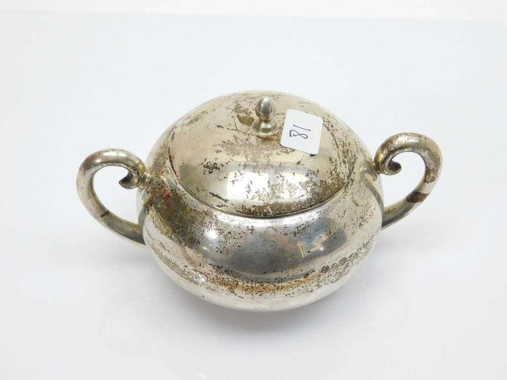 Lot 81: Mid Century Modern Mexican Sterling Silver Juvento Lopez Reyes Modernist Sugar Bowl 242G