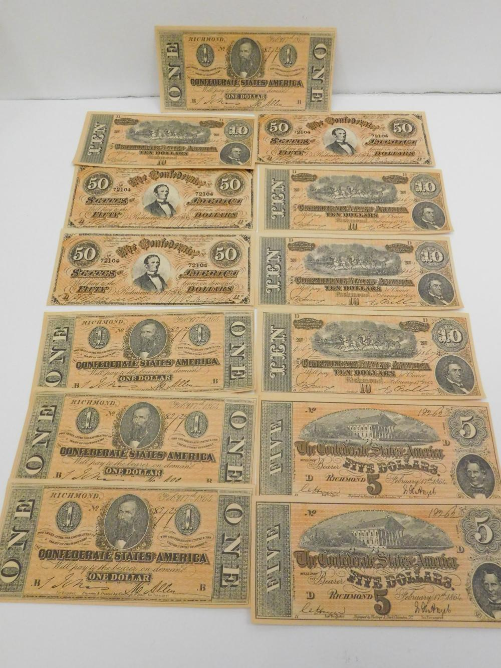 Lot Of Vintage Facsimile Confederate States Of America 1 5 10 & 50 Dollar Notes