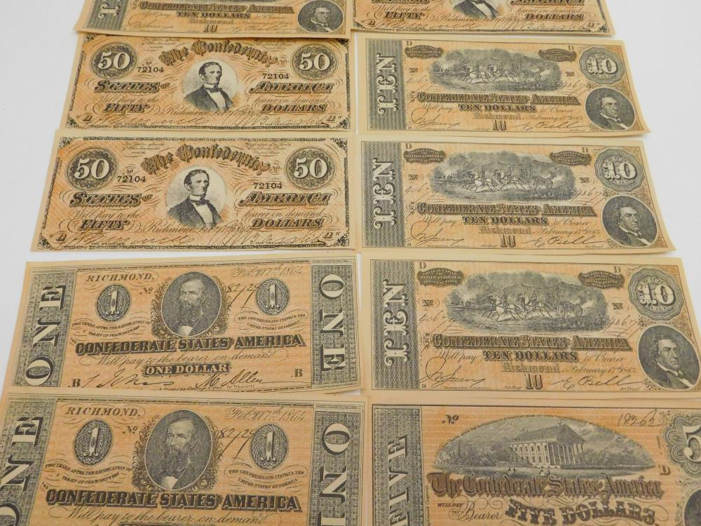 Lot 82: Lot Of Vintage Facsimile Confederate States Of America 1 5 10 & 50 Dollar Notes