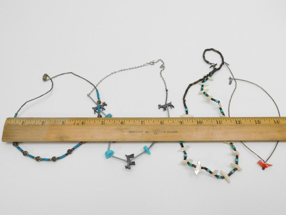 Lot 83: Lot Of 4 Vintage Native American Bead & Fetish Bead Necklaces