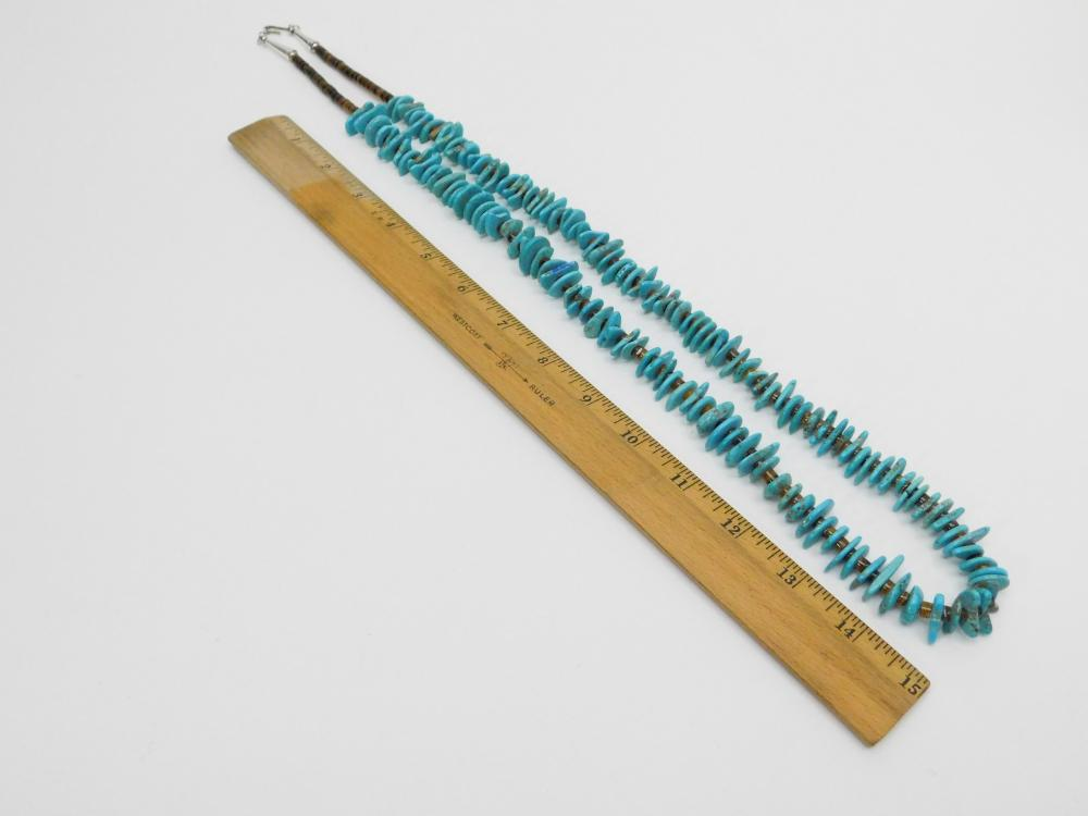 """Lot 90: Vintage Native American Navajo Turquoise & Brown Shell 36"""" Bead Necklace"""