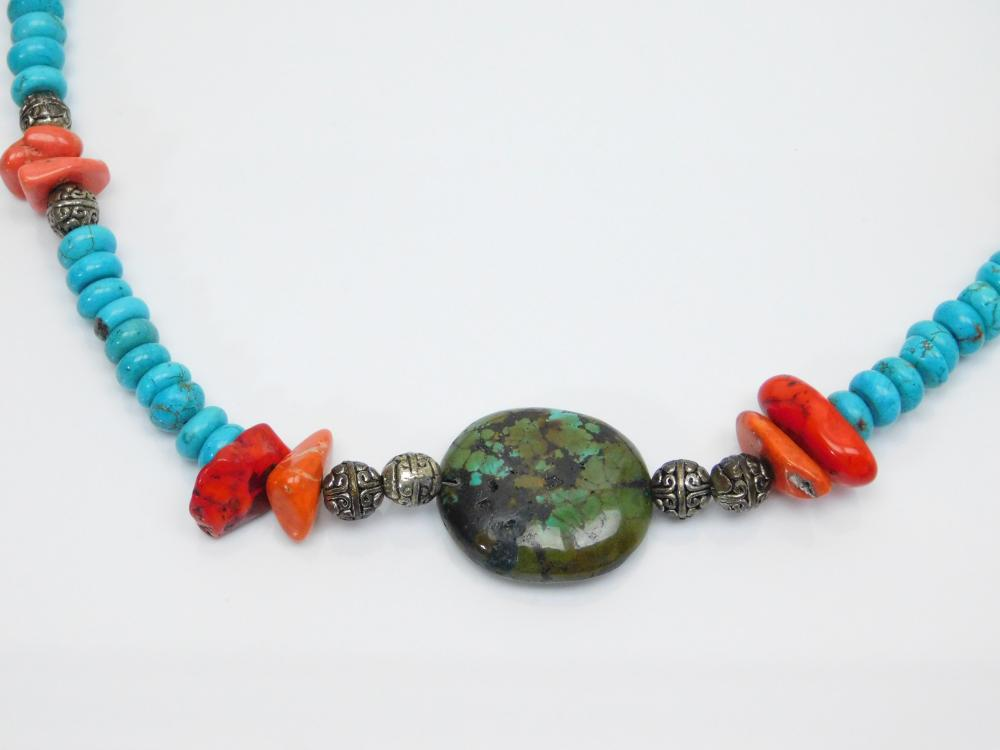 Lot 94: Thailand Sterling Silver Turquoise Coral Bead Necklace With Turquoise Pendant