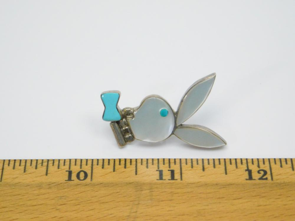 Lot 96: Vintage Native American Zuni Sterling Silver Turquoise Mop Playboy Bunny Tie Tack Pin 5.5G