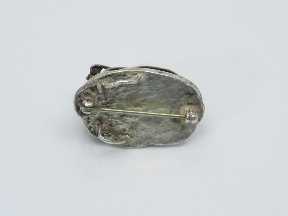 Lot 102: Custom Made Sterling Silver Caged Wulfenite Brooch Pendant 12G