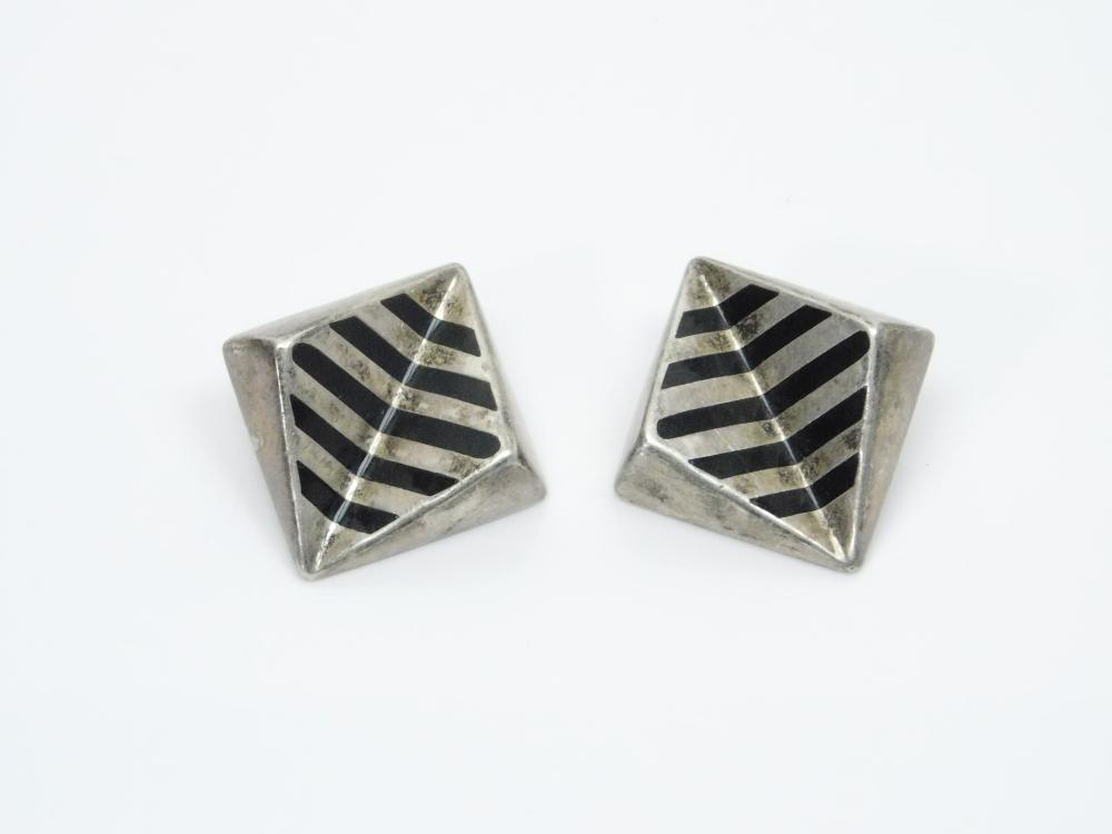 Vintage Taxco Mexico Art Deco Black Enamel Striped Clip On Earrings 22.4G