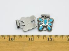 Lot 112: Vintage Native American Sterling Silver Turquoise Inlaid Butterfly Watch Tips 19G