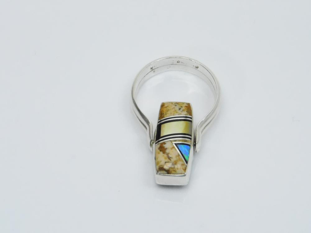 Lot 117: Native American Zuni Sterling Silver Opal Black Onyx Mop Reversible Flip Ring 8G Sz8.75