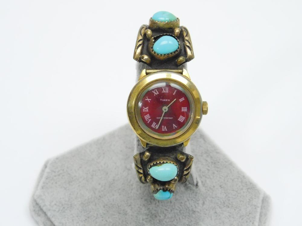 Vintage Native American Navajo Annabelle Peterson Sterling 1/20 12Kt Turquoise Watch Tips Band 32G