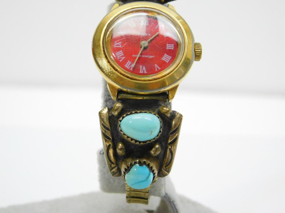 Lot 119: Vintage Native American Navajo Annabelle Peterson Sterling 1/20 12Kt Turquoise Watch Tips Band 32G
