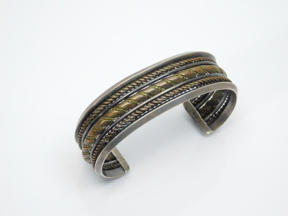 Lot 121: Vintage Native American Navajo Sterling Brass Mixed Metals Wide Cuff Bracelet 45G