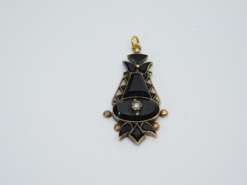 Lot 128: Antique Victorian 14K Gold Black Onyx Seed Pearl Pendant 3.9G