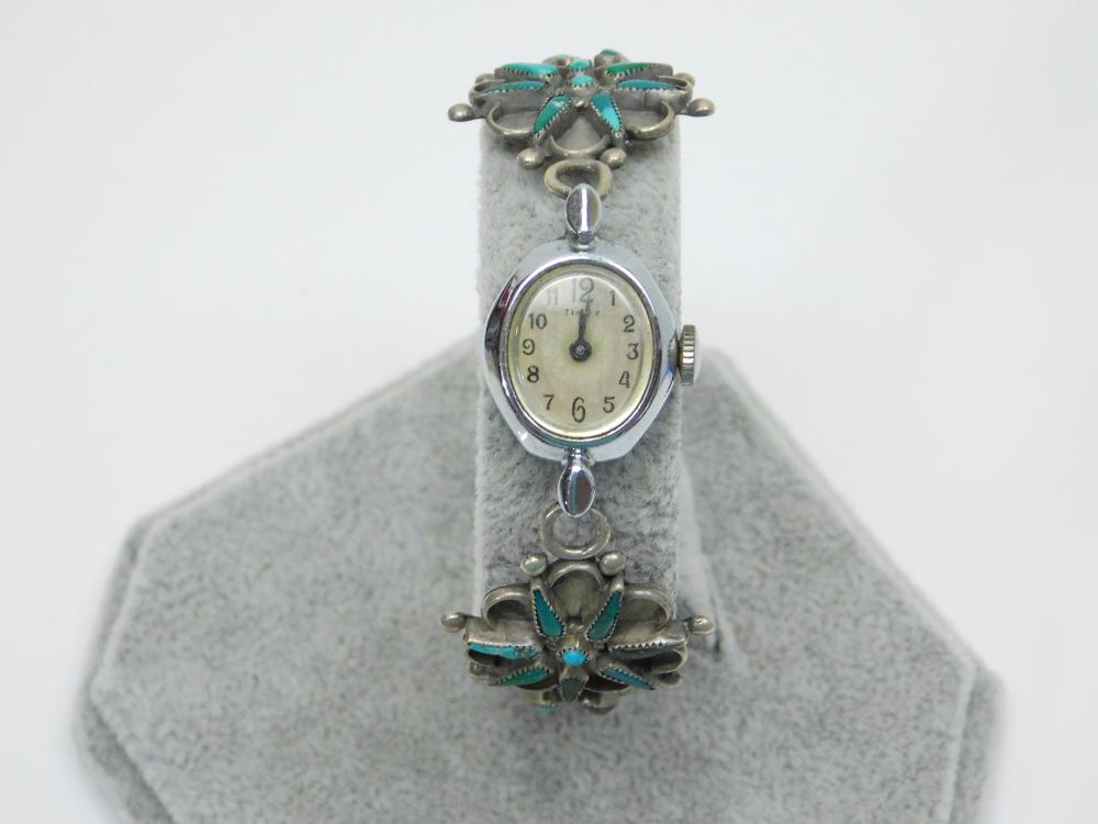 Vintage Native American Sterling Silver Turquoise Petite Point Cluster Watch Tips 21G