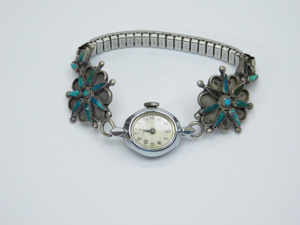 Lot 140: Vintage Native American Sterling Silver Turquoise Petite Point Cluster Watch Tips 21G