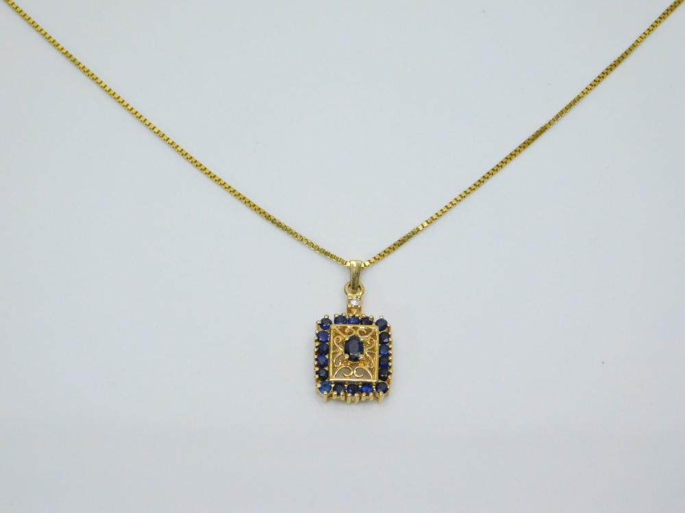 14K Gold Blue Sapphire Cluster Diamond Solitaire Pendant On 14K Gold Box Chain Necklace 4.7G