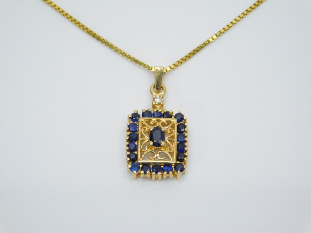 Lot 142: 14K Gold Blue Sapphire Cluster Diamond Solitaire Pendant On 14K Gold Box Chain Necklace 4.7G